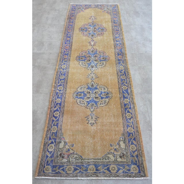 Traditional Design Distressed Oushak Runner Rug Faded Colors Low Pile - 2'12″ X 10'10″ For Sale - Image 4 of 10