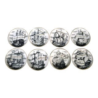 Mid-Century Modern Fornasetti-Style Coasters Tall Ships With Original Box For Sale