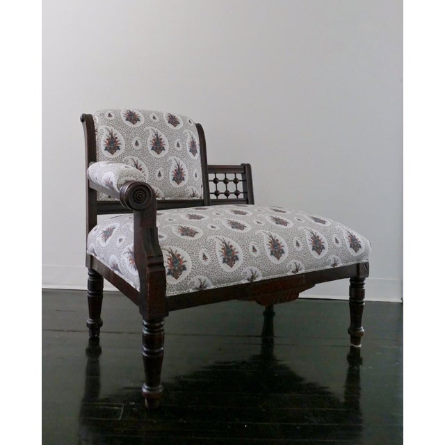 Vintage Eastlake Style Settee Upholstered in Tilton Fenwick Fabric - Image 2 of 8