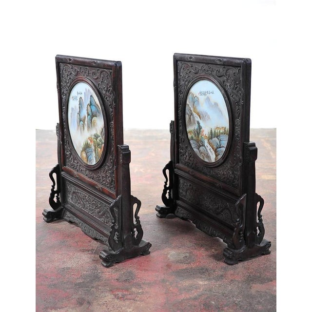 Pair of Chinese Large Circular Porcelain Hand Painted Panels For Sale In Los Angeles - Image 6 of 9