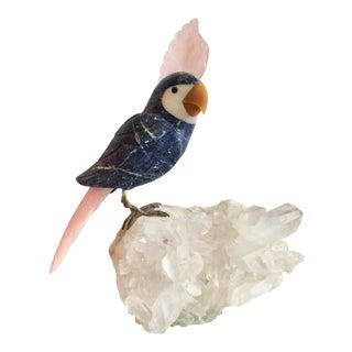 1970s Vintage Brazilian Semi Precious Parrot Bird Figurine For Sale