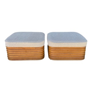 Paul Frankl Style Bamboo Ottomans - a Pair For Sale