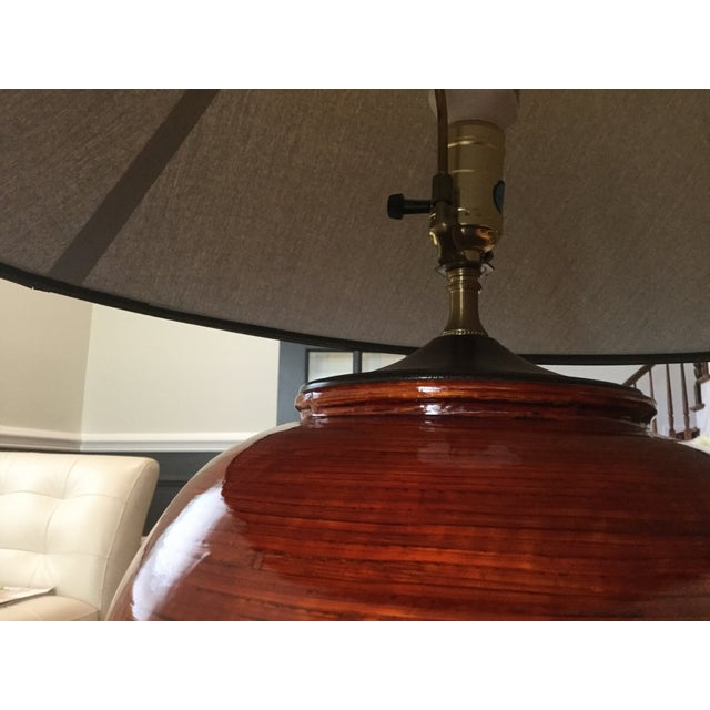Gumps Red Bamboo Table Lamp - Image 3 of 5