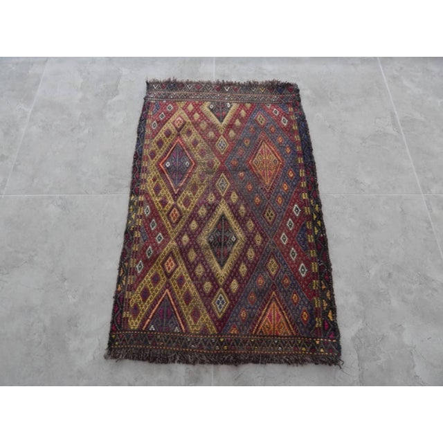 Red Handwoven Anatolian Turkish Oushak Braided Kilim Rug For Sale - Image 8 of 8