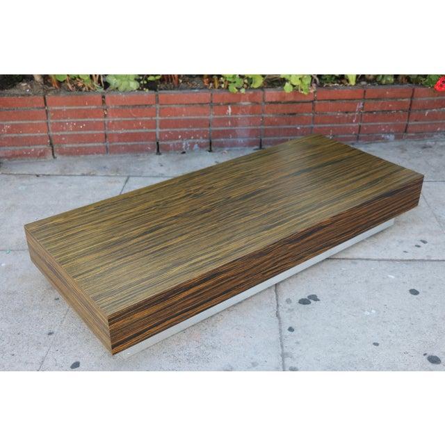 Aluminum Custom Made Zebra Wood Coffee Table For Sale - Image 7 of 8