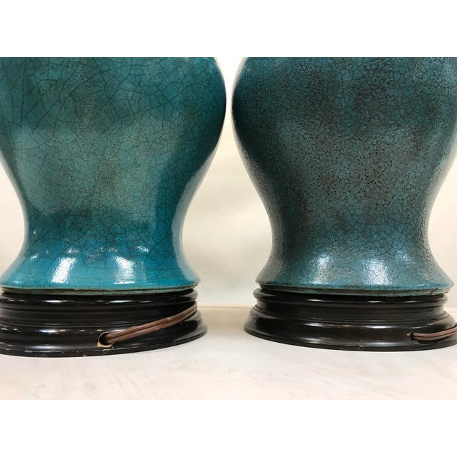 1980s Vintage Turquoise Ceramic Crackle Lamps- a Pair For Sale - Image 5 of 9