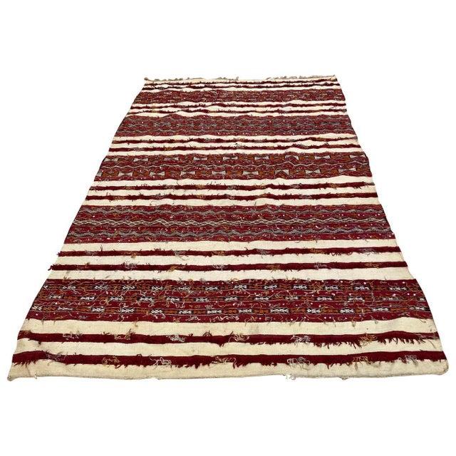Moroccan Vintage Tribal Kilim Handira Rug, circa 1960 For Sale - Image 13 of 13