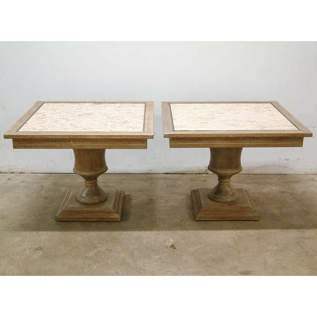 United States Circa 1940 A fine pair of custom cerused oak, brass and marble end tables from the famed Willard Hotel in...