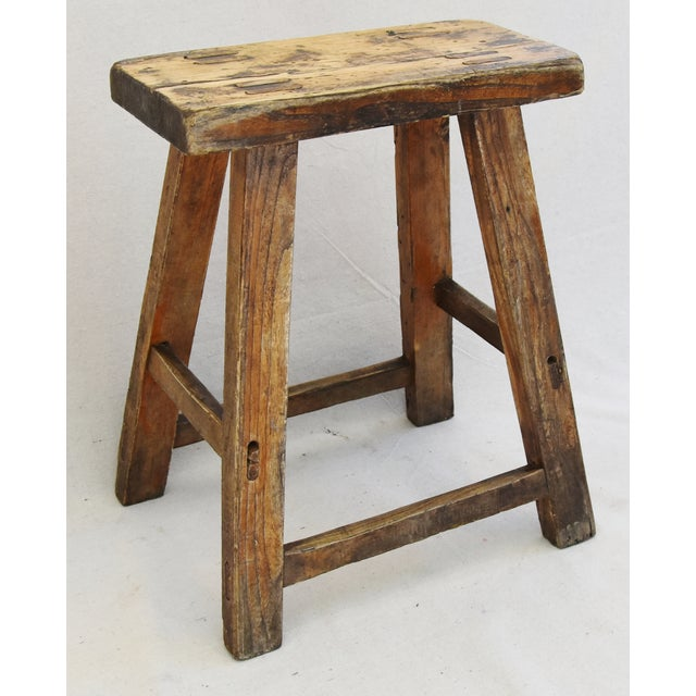 Rustic Primitive Country Wood Farmhouse Stool For Sale - Image 11 of 11