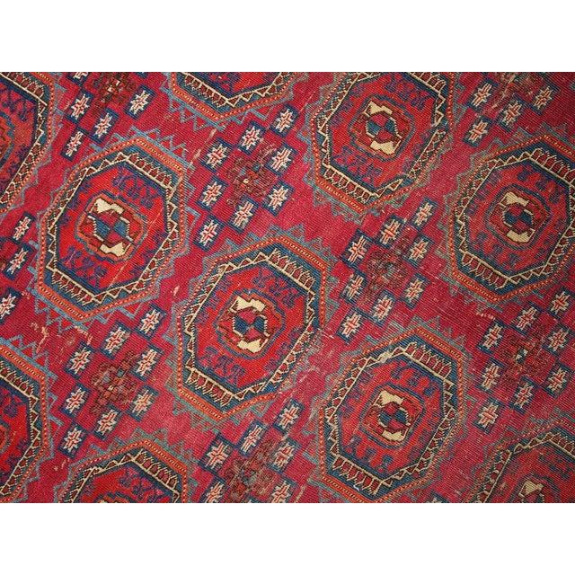 1850s Hand Made Antique Collectible Turkoman Saryk Rug 4