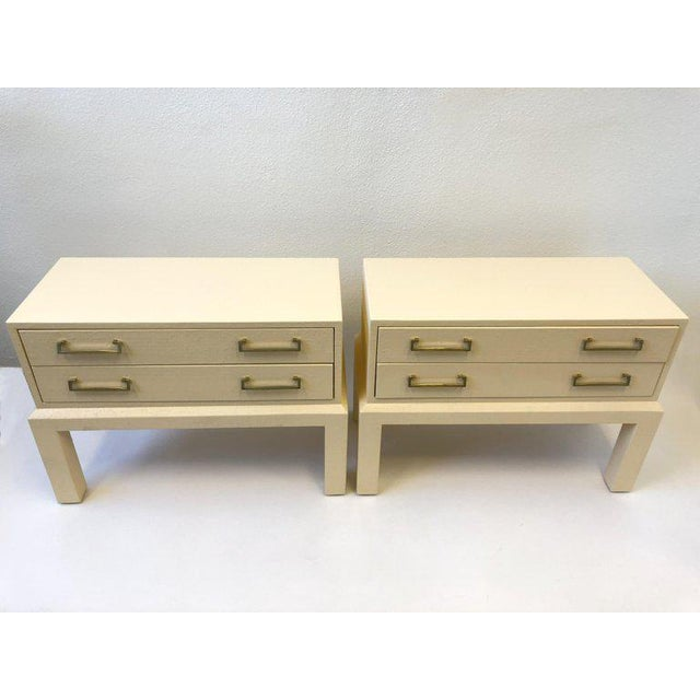 Pair of Brass and Lacquered Two Drawers Nightstands by Steve Chase For Sale In Palm Springs - Image 6 of 7