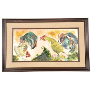 Mid Century Modern Abstract Enamel on Copper Cock Fight Wall Art For Sale