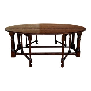 Large Antique French Oak Oval Gate Leg Dining Table