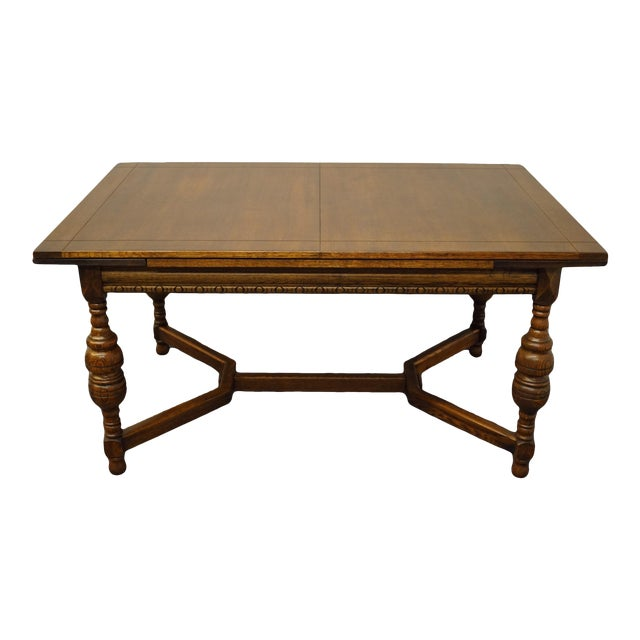 "Vintage Antique Oak English Revival Gothic Jacobean 84"" Draw Leaf Dining Table For Sale"