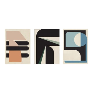 """""""Abstract Pastel Graphic"""" Contemporary Abstract Triptych Paintings - Set of 3 For Sale"""