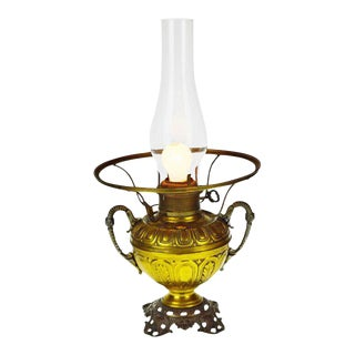 Antique 1880's Bradley & Hubbard Electrified Oil Lamp For Sale