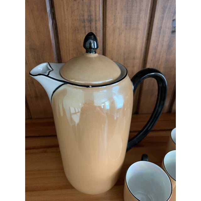 1930s Vintage Lusterware Coffee Pot With Tea Cup Set- 4 Pieces For Sale - Image 5 of 6