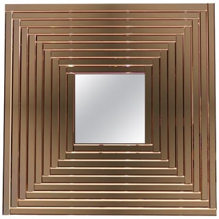 Contemporary Geometric Italian Rose Bronze Murano Glass Gradient Square Mirror For Sale