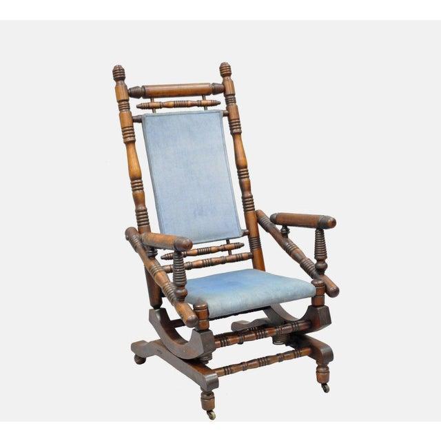 Antique Eastlake Victorian Turned Walnut Blue Platform Rocking Chair For Sale - Image 11 of 11