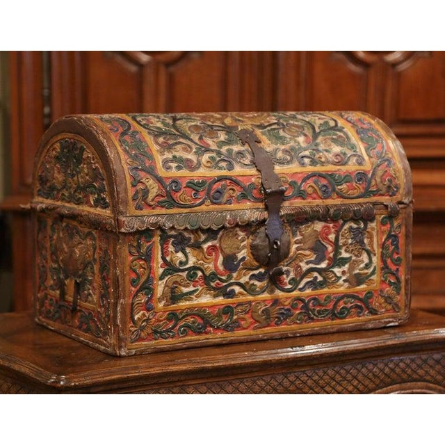 Late 18th Century 18th Century German Gothic Painted Decorative Bombe Box Wedding Trunk For Sale - Image 5 of 13
