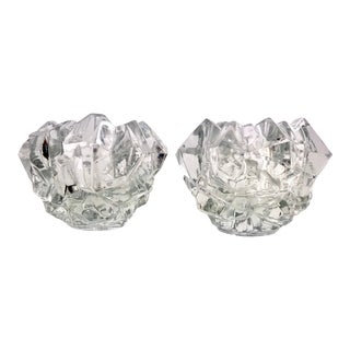 Vintage 1950s Goebel Lead Crystal Votive Candle Holders Germany Bleikris - a Pair For Sale