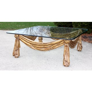 20th Century Italian Roman Greek Gold Brushed Carved Glass Coffee Table Preview