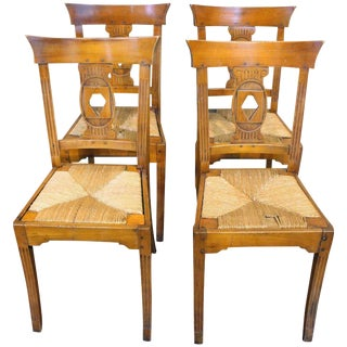 Italian Cherry Dining Chairs - Set of 4 For Sale