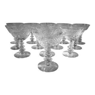 Crystal Diamond Cut Champagne Glasses - Set of 13 For Sale