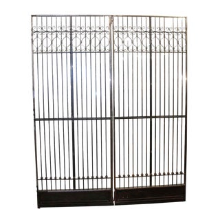 Antique Iron Elevator Doors-a Pair For Sale