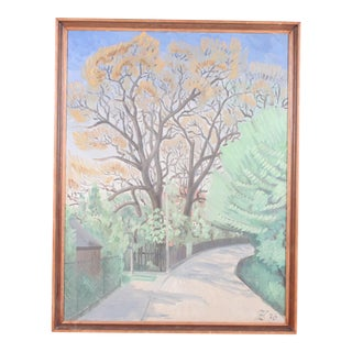 1936 Poplars Trees in Knob, Impressionist Landscape For Sale