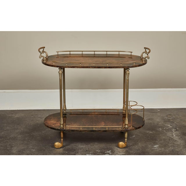 Brass 1950's Aldo Tura Parchment Bar Cart Trolley For Sale - Image 7 of 9