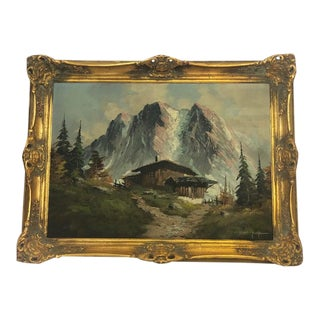 Early 20th Century Bavarian Winter Landscape Oil Painting, Framed For Sale