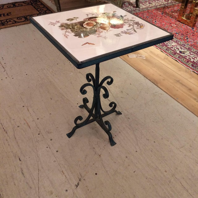 1950s Traditional Tile Occasional Table on Metal Stand For Sale In Philadelphia - Image 6 of 7