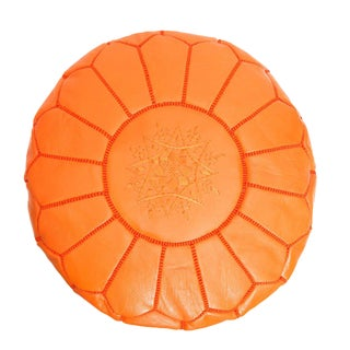 Modern Boho Chic Moroccan Leather Orange Pouf For Sale