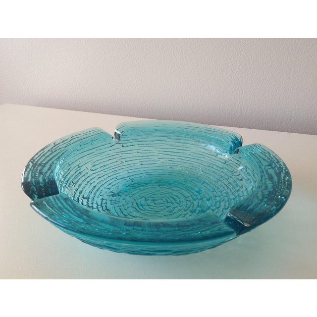 "Mid-Century, Anchor Hocking, ""Lido Soreno,"" pattern name, gorgeous teal or aqua waterfall catchall dish or astray. Perfect..."