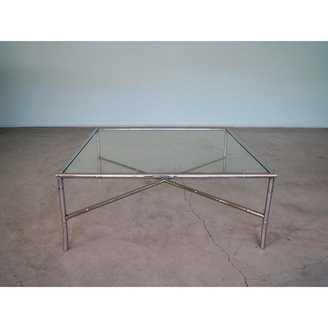 Maison Jansen 1960s Hollywood Regency Chrome Bamboo Coffee Table For Sale - Image 4 of 13