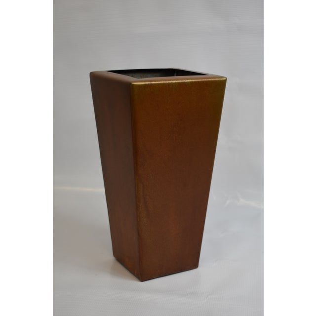 Handmade container with stunning Japanese brown patina. Ideal for seasonal foliage and dried flowers. Liquids not...