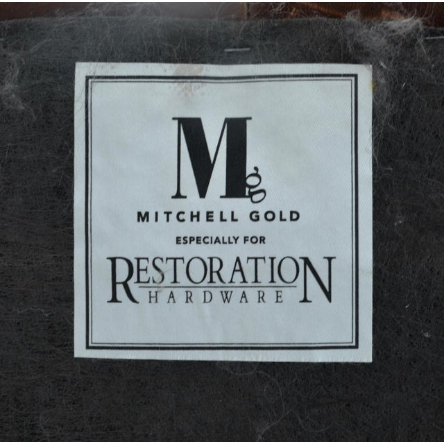 2010s Mitchell Gold for Restoration Hardware Leather Cube Ottoman Pair For Sale - Image 5 of 6
