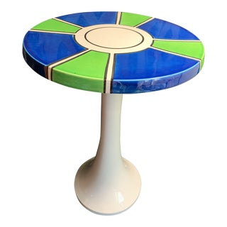 1960s Raymor Ceramic Pottery Tulip Shape Side Table, Made in Italy For Sale