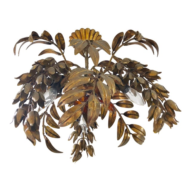 Maison Bagues Style 3 Light Flush Mount Gilded Wrought Iron and Crystal Chandelier For Sale