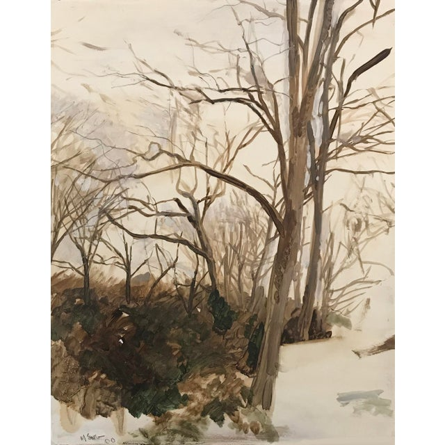 Featured in The 2020 San Francisco Decorator Showcase — Modern 2000 'Untitled (Winter),' Oil on Panel Painting by C. Meng For Sale