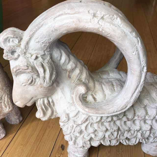 Figurative 1970s Vintage Ram Sculptures** - a Pair For Sale - Image 3 of 8