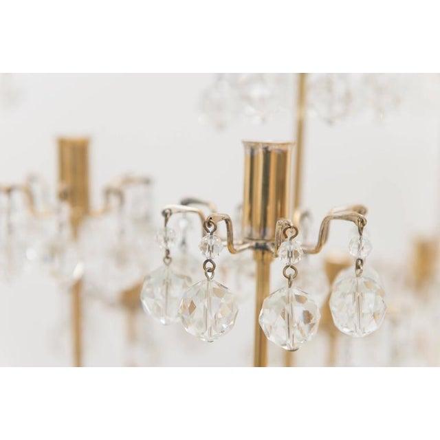 J. & L. Lobmeyr Brass and Swarovski Crystal Candlesticks - 15 Piece For Sale - Image 9 of 11
