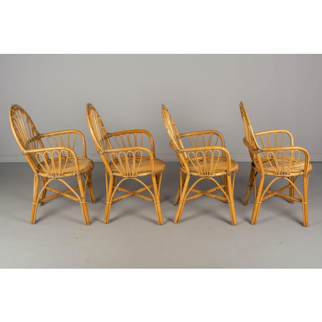 Mid 20th Century French Bamboo & Rattan Dining Chairs- Set of 4 For Sale - Image 5 of 11
