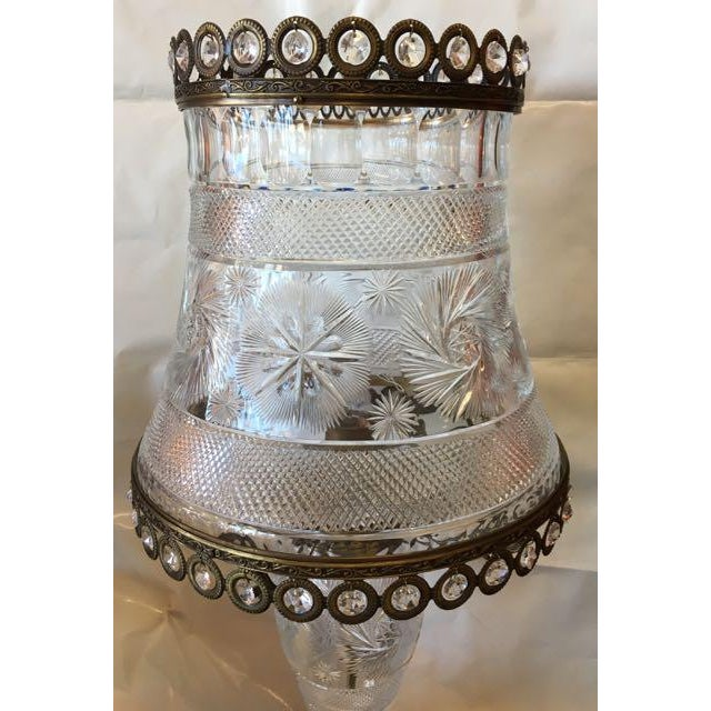 American Classical American Brilliant Cut Crystal Lamp For Sale - Image 3 of 9