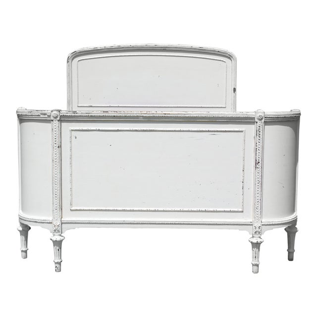 Antique Solid Wood White Painted Cottage Shabby Chic Double Full Bed C.1920's For Sale