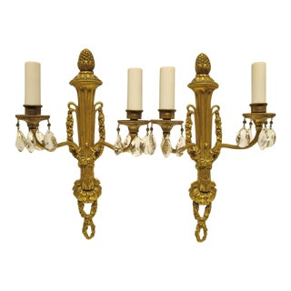 Antique 1910s E. F. Caldwell Gilt Bronze and Crystal Sconces - a Pair For Sale