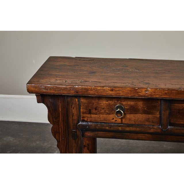 Brown 18th C. Chinese Ming Style Elm Sideboard For Sale - Image 8 of 11