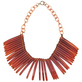 Vintage Tortoise Resin Fringe Collar Bib Necklace For Sale