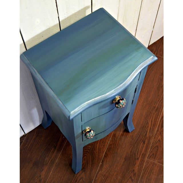 2000s Small Bohemian Blue Painted Cabinet For Sale - Image 5 of 6